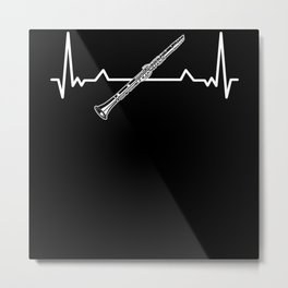 Clarinet Heartbeat Musicians Musical Instrument Metal Print