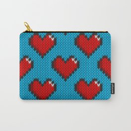 Knitted heart pattern - blue Carry-All Pouch