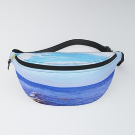 blue ocean view with blue cloudy sky in summer Fanny Pack
