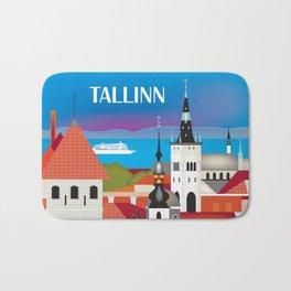 Tallinn, Estonia - Skyline Illustration by Loose Petals Bath Mat