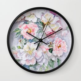 White Wild Roses Watercolor painting White Pink Rose Flower Bouquet Wedding decor Wall Clock