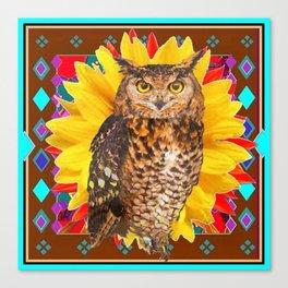 COFFEE BROWN SUNFLOWER ART DECO OWL Canvas Print
