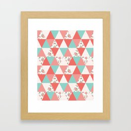 Triangle quilt pattern cute florals dots cheater quilt blanket quilter must have cute baby shower  Framed Art Print