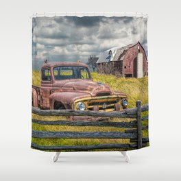 Pickup Truck behind wooden fence in a Rural Landscape Shower Curtain