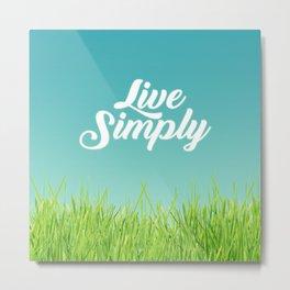 Live Simply Script Typography & Green Grass Metal Print
