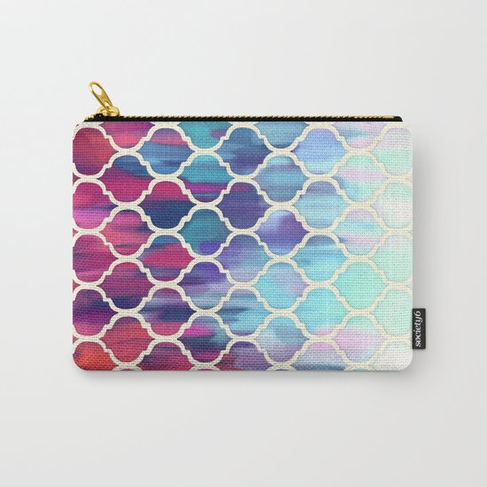 Moroccan Meltdown - pink, purple & aqua painted tiles Carry-All Pouch