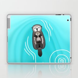 Mother and Pup Sea Otters - Mom Holding Baby Otter Laptop & iPad Skin