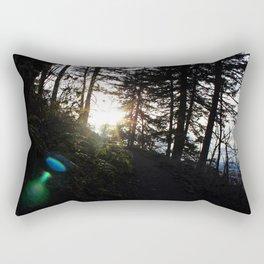 Lens flare through the trees Rectangular Pillow