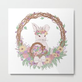 Easter Bunny Floral Wreath Metal Print