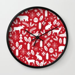 Festive Christmas woodland reindeer moose bear camping red and white minimal pattern for holidays Wall Clock