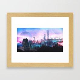 Io Alpha: Scifi City Framed Art Print