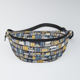 Book Case Pattern - Blue Yellow Fanny Pack