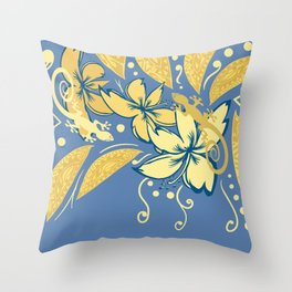 Samoan Orchid Sunset Polynesian Floral Throw Pillow