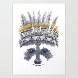 Festivale Raccoon Art Print