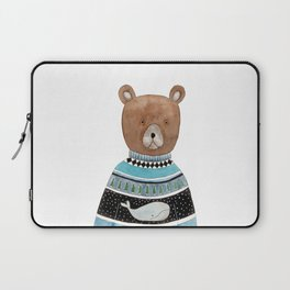 Bear in knitted sweater Laptop Sleeve