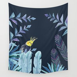 Cockatiel with tropical leaves and dark blue background Wall Tapestry