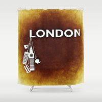 england Shower Curtains featuring London, England  by Limitless Design