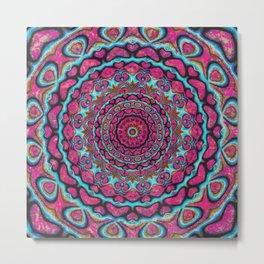 Pink and blue hearts mandala Metal Print