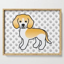 Cute Lemon And White Beagle Dog Cartoon Illustration Serving Tray
