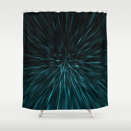 Blue and black Hypergalaxy Shower Curtain