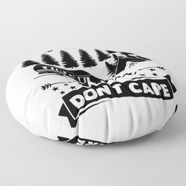 Camping Hair Dont Care v2 bw Floor Pillow