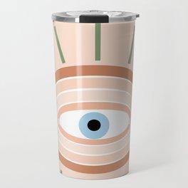 Retro evil eye - neutrals Travel Mug