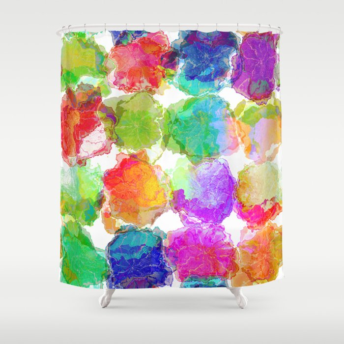 Colorful Ink Blots Shower Curtain