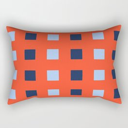Geometric abstraction: dark and light cobalt blue squares on scarlet red Rectangular Pillow