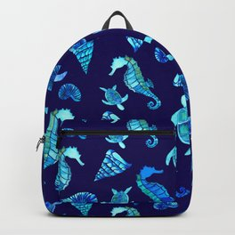 Sea Creatures | Cyan, Navy Blue Marine Animals Pattern Backpack