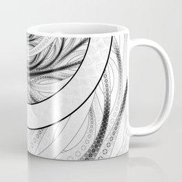 White on Black Circular Fractal of a Jinbaori Samurai Symbol Coffee Mug