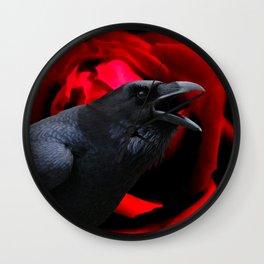 Crow Black Bird Red Rose Flower Gothic Home Decor Fantasy Art A590 Wall Clock