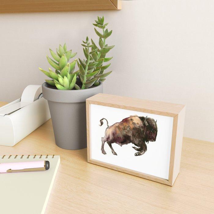 Bison, Bull, animal woodland, bison art, wildlife design Framed Mini Art Print