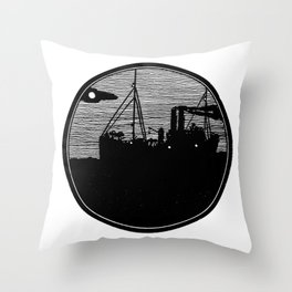 Silent boat. Throw Pillow