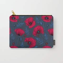 Red poppies and ladybugs on dark blue Carry-All Pouch