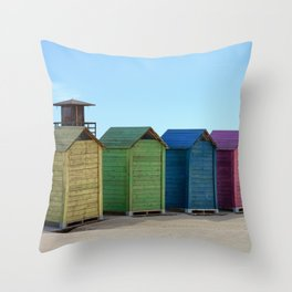 Colorful beach cabinets Throw Pillow