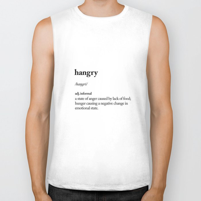 Hangry black and white contemporary minimalism typography design home wall decor bedroom Biker Tank