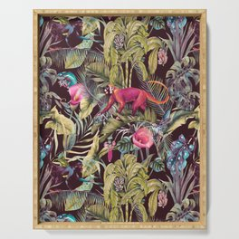 Fantasy in the nocturnal tropical jungle Serving Tray
