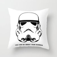 trooper Throw Pillows featuring Trooper by C Liza B