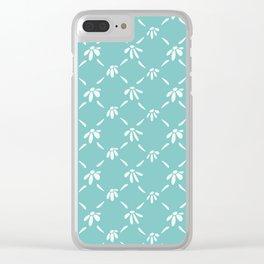 Floral Geometric Pattern Aqua Sky Clear iPhone Case