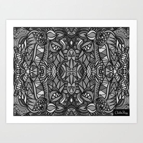 Roller Coaster Black and White Art Print