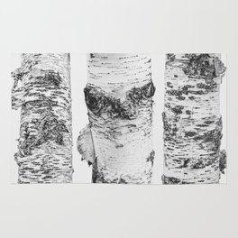 Birch Trees Landscape Photography | Black and White | black-and-white | bw Rug