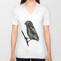 ornate V-neck T-shirts featuring Ornate Bird by ZantosDesign