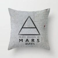 30 seconds to mars Throw Pillows featuring 30 Seconds to Mars - stencil on brick wall by sky0323