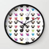 emoji Wall Clocks featuring Emoji Pug  by Huebucket