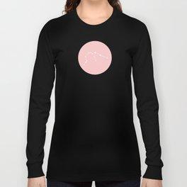 Aquarius Star Sign Soft Pink Circle Long Sleeve T-shirt