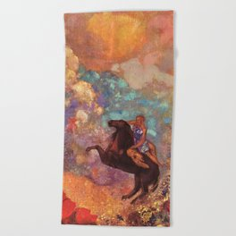"Odilon Redon ""Muse on Pegasus"" Beach Towel"