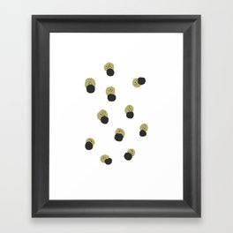 black and mustard minimal abstract print Framed Art Print