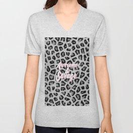 Trendy black white animal print pink brush typography Unisex V-Neck