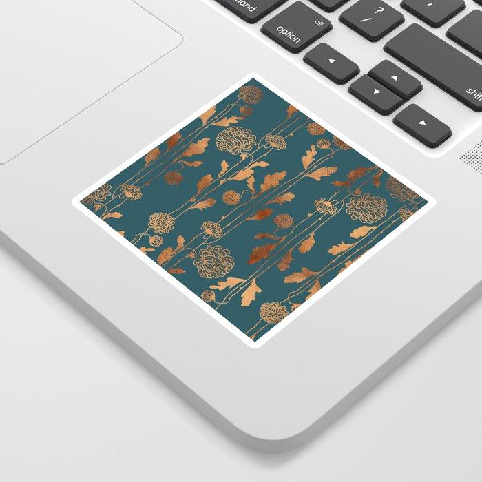 Art Deco Copper Flowers Sticker
