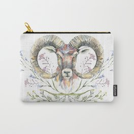 Ram's watercolor portrait with wildflowers ornament. Carry-All Pouch